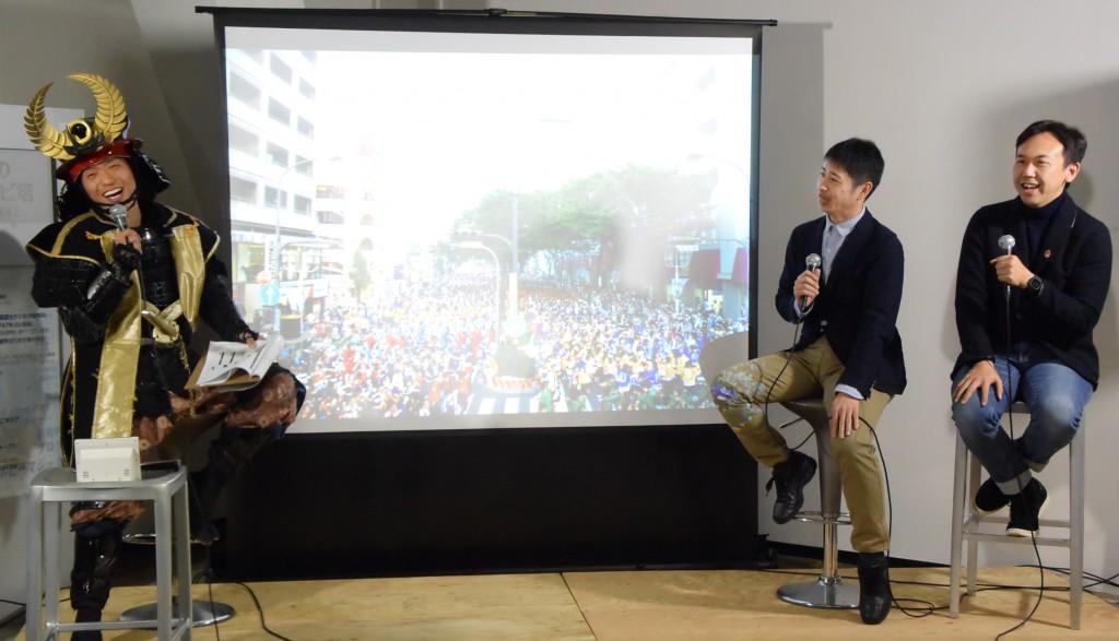 「どまつり」から名古屋の将来を語った(左から)徳川家康、水野孝一さん、西川千雅さん